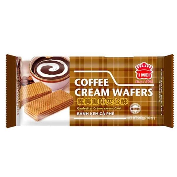 I Mei Coffee Cream Wafer er en wafer-cookie med glat kaffecreme. Sandwichet mellem to lette vafler, er creme waferen til enhver wafer cookie elsker! Med tre lag creme mellem 5 lag vaffelignende oblat er disse tykke oblatkager absolut lækre. En sød godbid til den kaffe- trang til middag.