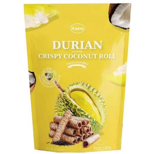 Kaew Crispy Roll Durian Flavor - 100g